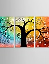 canvas uppsättning 3 botanisk färgrik hoppfull livsträd Sträckt Canvastryck redo att hänga