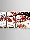 Romance Botanique Quatre Panneaux Format Vertical Imprime Decoration murale Decoration d\'interieur