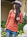 Stilul Coreea gât rotund mânecă lungă T-shirt pepene roșu