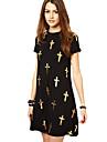 Femei Lady Sexy Negru de aur aurire Cruce amestec de bumbac Casual rochie de vara