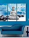 e-home® Buddha și ceasul pietre în 3pcs panza