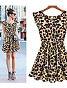 Fashion Women Bohenmia Pleated Wave Beach Leopard Print Mini Dress Vestidos Lace Strap Milk Silk Maxi Long Dresses