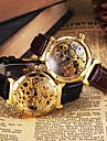Bărbați Ceas de Mână ceas mecanic Gravură scobită Mecanism automat Piele Bandă Luxos Negru Maro