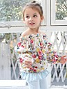 Bluză Floral Primăvară Toamnă Manșon Lung Alb Bleumarin