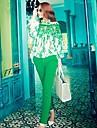 coco zhang toate costum de culoare de contrast meci dantelă (bluză&pants)