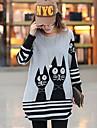 pisică femei Margele casual, pierde t-shirt