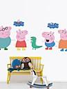 perete decalcomanii autocolante de perete, autocolante de perete din PVC de familie fericire porc.