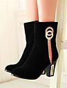 Pantofi pentru femei - Imitație de Piele - Toc Gros - Vârf Rotund - Cizme - Party & Seară / Rochie - Negru / Roșu