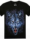 o-gât lup vară 3d animale barbati imprimat cu maneci scurte t-shirt