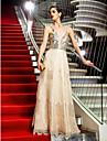 Linia -A Bretele Spagheti Lungime Podea Dantelă Organza Seară Formală Bal Militar Rochie cu Paiete de TS Couture®