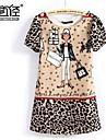 Women's Cartoon Short Sleeve Chiffon Leopard Print Dress
