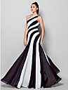 Sheath / Column One Shoulder Floor Length Chiffon Formal Evening Dress with Side Draping by TS Couture®