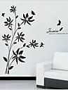 detașabil romantic rattan floare negru de living / canapea perete fundal autocolant