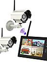 """nya trådlösa 4ch quad dvr 2 kameror med 7 """"tft-lcd-bildskärm hem trygghetssystemet"""