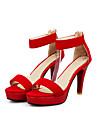 Damă Sandale Vară Platforme Confortabili Pantofi pe Gleznă Lână Nuntă Casual Party & Seară Toc Stiletto Platformă Fermoar Negru Mov Rosu