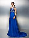 Linia -A Pe Umăr Trenă Court Șifon Seară Formală Rochie cu Mărgele Detalii Cristal Dantelă Eșarfă / Panglică Ruching de TS Couture®