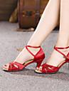 בגדי ריקוד נשים נעליים לטיניות Paillette / סטן סנדלים נצנצים / אבזם עקב קובני ללא התאמה אישית נעלי ריקוד אדום / כסף / מוזהב / בבית / עור / אימון / מקצועי