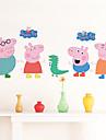Animale Desene Animate Perete Postituri Autocolante perete plane Autocolante de Perete Decorative Adezive de Măsurat Înălțimea, Vinil