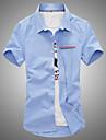 Sommar Enfärgad Kortärmad Dagligen Plusstorlek Skjorta,Ledigt Herr Klassisk krage Bomull