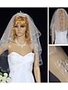Două niveluri de voal de voal cu cot de nuntă cu accesorii pentru nunta de tul