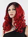Парики из искусственных волос Волнистый Красный Ассиметричная стрижка Красный Искусственные волосы Жен. Природные волосы Красный Парик Длинные Без шапочки-основы