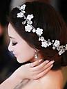 Femei Dantelă Imitație de Perle Șifon Diadema-Nuntă Ocazie specială Informal Exterior Cordeluțe Flori Lănțișor de cap Στεφάνια 1 Bucată