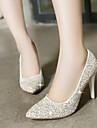 Pentru femei Pantofi Luciu Primăvară / Vară Toc Stilat Alb / Auriu / Rochie