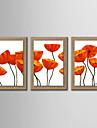 ulei pictura fitodesign abstract pictat lenjerie naturale cu întins încadrată - set de 3