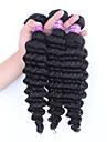 Cheveux Brésiliens Tissages de cheveux humains Ondulation profonde Extensions de cheveux Noir