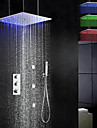 Nutida Regndusch Utbredd Handdusch inkluderad Termostatisk LED Mässing Ventil Tre Handtag Fem hål Krom, Duschkran