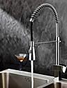 Nutida Utdragbar / Pull-down Horisontell montering Utdragbar dusch Keramisk Ventil Ett hål Singel Handtag Ett hål Krom, Kökskran