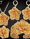 Pentru femei Auriu 18K Aur Set bijuterii Include 1 Colier 1 Pereche de Cercei 1 Brățară 1 Inel - Lux Auriu Placat cu platină 18K Aur