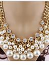 Pentru femei Perle În Straturi Coliere / Coliere Layered / Κολιέ με Πέρλες - Perle, Diamante Artificiale Σταυρός Multistratificat Alb Coliere Pentru Petrecere