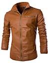 bărbați stradă de primăvară chic de primăvară pu jacheta / strat, maneca lunga cu maneca lunga stand gu guler