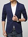 Herre Daglig / Arbejde Plusstørrelser Normal Blazer, Ensfarvet Langærmet Bomuld / Polyester Sort / Mørkeblå / Lyseblå XXXL / 4XL / XXXXXL / Business Formal / Tynd