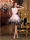 A-line bijuterie gât scurtă / mini șifon tul rochie de bal cu flori de ts couture®