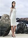 Coloană / Teacă De Pe Umăr Lungime Genunchi Dantelă Made-To-Measure rochii de mireasa cu Dantelă de LAN TING BRIDE® / Iluzie / Mica Rochie Albă / Vezi Prin