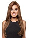 Synthetische Peruecken Glatt Braun Asymmetrischer Haarschnitt Braun Synthetische Haare Damen Cosplay Braun Peruecke Lang Kappenlos