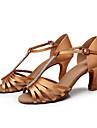 Pentru femei Pantofi Dans Latin / Pantofi Salsa / Pantofi de Samba Satin Sandale Piatră Semiprețioasă / Cataramă Toc Personalizat / Piele