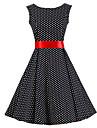 Pentru femei Vintage Bumbac Linie A Rochie Buline Lungime Genunchi Negru & Roșu