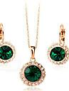Cristal Set bijuterii - Zirconiu Cubic Petrecere, Birou, Modă Include Auriu / Verde Pentru Petrecere / Ocazie specială / Aniversare / Σκουλαρίκια / Coliere