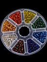 beadia 1box / 135g margele de semințe de sticlă 4mm culori runda mixte cu argint interioare (aprx.1100pcs)