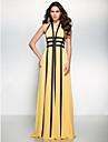 Linia -A Gât V Lungime Podea Șifon Bal Seară Formală Rochie cu Eșarfă/Panglică de TS Couture®