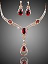 Pentru femei Mai multe pietre Cristal Sintetic Ruby Ștras Zirconiu Zirconiu Cubic Placat Auriu Lux Set bijuterii Include 1 Colier 1
