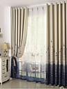 Stångficka Hyls-topp Hällor topp Dubbel veckad Penn veck Två paneler Fönster Behandling Medelhavet, Tryck Sovrum Polyester Material