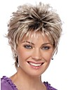 Femme Perruque Synthetique Court Boucle Argent Cheveux Colores Racines foncees Ligne de Cheveux Naturelle Coupe Lutin Perruque Naturelle