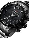 NAVIFORCE Bărbați Ceas Sport Ceas de Mână Japoneză Quartz LED Calendar Rezistent la Apă Zone Duale de Timp alarmă Cronometru Oțel