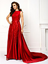 A-Line Jewel Neck Chapel Train Lace Over Satin Prom / Formal Evening Dress with Appliques by TS Couture®
