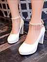 Pentru femei Pantofi Imitație de Piele Primăvară Vară Toc Îndesat Platformă Franjuri pentru Nuntă Rochie Party & Seară Alb Negru