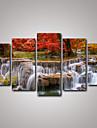 Landskap Realism, Fem paneler Duk Horisontell Tryck väggdekor Hem-dekoration